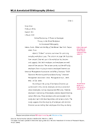 Mla Style Documents Free Sample Blank Mla Style Annotated Bibliography Template