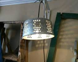 repurposed lighting. Colander Hanging Light. Repurposed Lighting. Farmhouse Light Lighting U