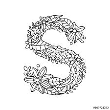 Small Picture Letter S coloring book for adults vector Stock image and royalty