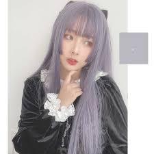 <b>MANWEI Lolita</b> 60CM Long Straight purple Synthetic Bangs Japan ...