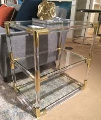 getty acrylic and brass side table  mecox gardens