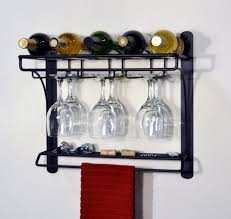 black metal wall mounted 6 wine glass rack with shelf and hook on the wall