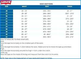Mens Waist Measurement Chart Levis Mens Size Chart Ssilink Co