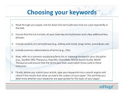 how to write an effective title and abstract and choose appropriate k   15 choosing your keywords1