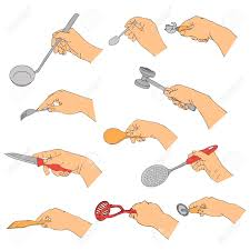 kitchen utensils drawing. Vector Hands With Kitchen Utensils, Line Drawing Isolated Symbols At White Background Stock - Utensils