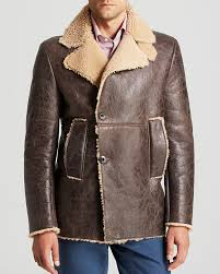 brown pea coats eidos moto shearling peacoat