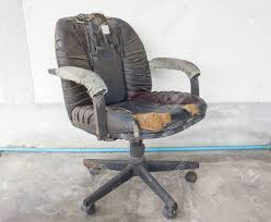 old office chair. Black Office Chair Old Damage Leather And Dirty, Time To Replace The Chair. E