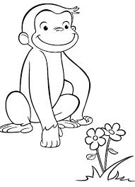 Curious George Coloring Pages Seeing Flower Coloringstar