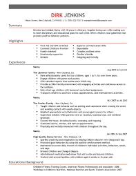 Cover Letter Child Care Resume Samples Free Child Care Resume