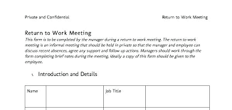 Doctors Notes Healthy In Return To Work Interview Form Template Free