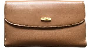 longchamp pre owned vintage camel leather purses wallets cases in natural lyst