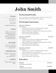 Office Resume Template Simple Open Office Resume Template Free