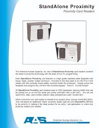 aas stand alone proximity card reader product brochures