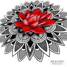 Mandala Lotos Tattoo Flash Dotwork Ornamental By Asikaart On