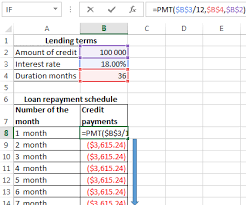 Loan Format In Excel Calculation Of Credit In Excel And The Formula Of Monthly Payments