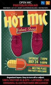 Comedy Show Flyer Template Open Mic Talent Karaoke Edy Poster Or Ad
