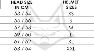 Fox Size Chart Fox Flight Helmet Size Chart