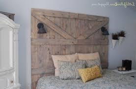 Old Barn Door Headboard White Shade Table Lamp Brown Laminate Wooden ...