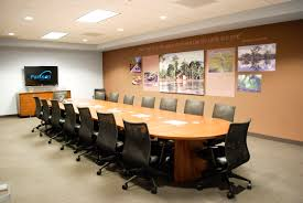office meeting room design. This Is A Modern Office Meeting Room Design Consist Of White Modular Table And Leather Chair Also Wall Mount Tv