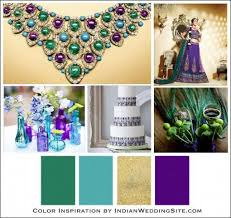 Purple and green wedding colors Bridesmaid Dresses Turquoise Emerald And Amethyst Indian Wedding Color Inspiration Oh Best Day Ever Indian Wedding Ideas Blog Indian Wedding Themes Indian Wedding