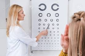 Eye Chart Machine Patient And Optician Doing Eye Test With Eye Chart In Clinic