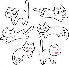 シンプルな白猫のイラストセット イラスト素材 5155213 フォト