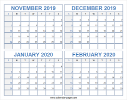 Blank Dec 2020 Calendar Calendar 2019 November December 2020 January February For