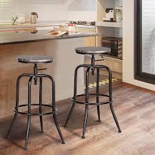 Furniture R Set Of 2 Bar Stools Industrial Style Adjustable