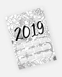 Free Yearly 2019 Calendar Floral Adult Coloring Page Instant Download