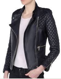 barbara bui navy leather biker moto jacket size 38 xs s excellent