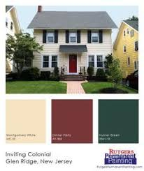 exterior paint schemes red door. cheerful yellow siding is matched with a bright red door and deep green shutters on this. exterior house paintsexterior colorsexterior paint schemes r