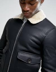 pull bear faux leather aviator jacket with fur collar in black men jackets pull bear jeans