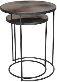 bronze heavy aged mirror round nesting side table set furntastic