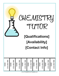 Tutor Flyer Templates Chemistry Tutor Flyer