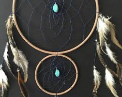 Double Dream Catchers Dream Catcher with Double Ring Turquoise and Red Stones 27
