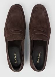 top down view men s chocolate suede leather glynn penny loafers