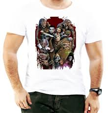 Scary T Shirts Designs Halloween Horror Movie Mix Poster Scary Blood Design Men T Shirt Birthday Gift