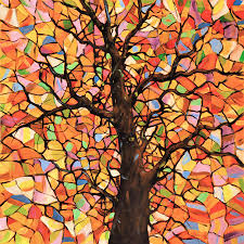 tree painting original abstract tree landscape painting stained glass tree 2