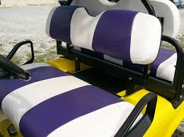 details about club car ds 00 golf cart custom vinyl seat covers front and rear white purple