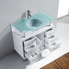 aqua 36 inch vincente bathroom vanity white finish glass top