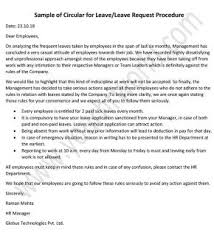 Sample Of Circular For Leave Leave Request Procedure Hr