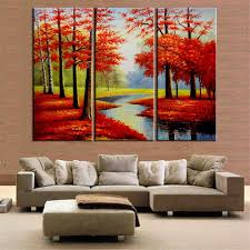 Paintings For Living Room Wall 3 Pieces Oil Painting Red Tree Posters And Prints Cuadros