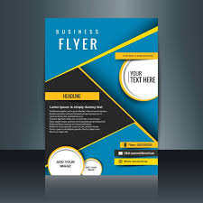 flyer design free vector abstract blue business brochure with yellow details vector free