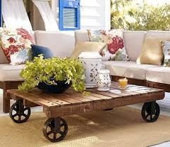 Rustic Yet Modern Pallet Coffee Table With Wheels  Pallet Pallet Coffee Table On Wheels