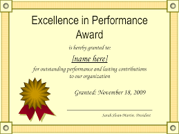 Award Of Excellence Certificate Template Outstanding Excellence In Performance Awards Certificate Template 41