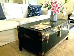 steamer trunk coffee table black