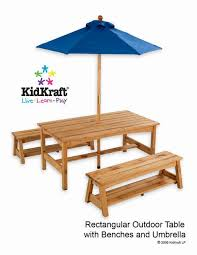 kidkraft table benches with blue umbrella
