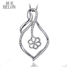 helon 10mm round pearl solid 18k white gold semi mount natural diamonds pendant engagement wedding fine jewelry for women