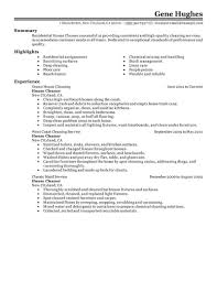 Janitorial Resume Sample Residential House Cleaner Example Allowed