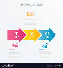 number 3 template infographics arrow number 3 step template vector image
